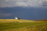 Rocklyn Community Church with Wheat Fields and Storm Coming Photographic Print by Terry Eggers