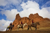Riders Passing under the Red Rock Hills of the Big Horn Mountains Photographic Print by Terry Eggers
