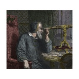 Galileo Galilei and His Telescope - Engraving 1864 Giclee Print by Stefano Bianchetti