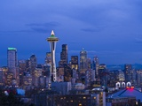 Night View of Seattle Skyline with Christmas Tree on the Space Needle Photographic Print by Terry Eggers