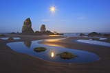 Moon Set over Neadles, Canon Beach, Oregon Coast, Pacific Northwest Photographic Print by Craig Tuttle
