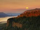 Moonrise over Columbia River Gorge Photographic Print by Steve Terrill