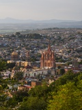 Evening City View from above City with Parroquia Archangel Church San Miguel De Allende Photographic Print by Terry Eggers