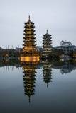 Sun and Moon Pagodas Located on Banyan Lake, Guilin, China Photographic Print by Terry Eggers