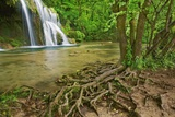 Waterfall Cascade Des Tufs in Beech Forest Photographic Print by Frank Krahmer