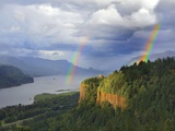 Double Rainbow over Vista House Photographic Print by Steve Terrill