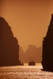 Karst Formations at Sunset in Bai Tu Long Bay in Halong Bay UNESCO World Heritage Site, Vietnam Photographic Print by Ron Dahlquist