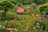 Pink Chair in Flower Garden Photographic Print by Steve Terrill