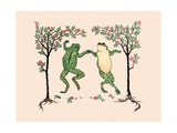 Joyous Dancing Frogs Giclee Print