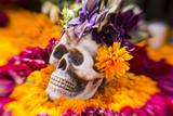 Flowers and Skull Laid out for Day of the Dead Celebration Photographic Print by Terry Eggers