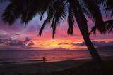 Palm Trees at Sunset on Keawekapu Beach, Wailea, Maui, Hawaii Photographic Print by Ron Dahlquist