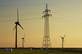 Wind Energy Plant and Power Pole Photographic Print by Frank Krahmer