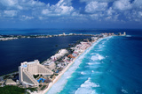 Cancun Beach and Hotels Photographic Print by Danny Lehman
