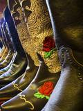Line up of New Cowboy Boots in Old Scottsdale Photographic Print by Terry Eggers