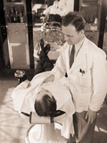 Man Being Shaved by Barber Photographic Print by Philip Gendreau