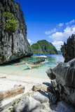 Outrigger Boat on a Little White Beach and Crystal Clear Water in the Bacuit Archipelago Photographic Print by Michael Runkel