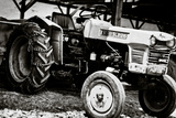 Vintage Kubota L225 Tractor Black and White Art Print Poster Posters