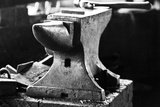 Anvil in Blacksmith Metal Workshop Black and White Photograph Poster Posters