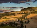 Zig Zag Road in Last Autumn Light near Monticchiello Photographic Print by Terry Eggers