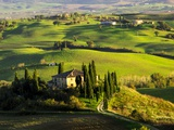 Evening Light at the Belvedere House Surrounded by Winter Wheat in Southern Tuscany Photographic Print by Terry Eggers