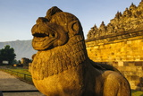 Lion Head in the Temple Complex of Borobodur, Java, Indonesia, Southeast Asia, Asia Photographic Print by Michael Runkel