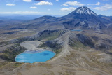 Aerial of the Blue Lake before Mount Ngauruhoe, Tongariro National Park, North Island Photographic Print by Michael Runkel