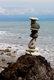 Balancing Rocks Near Ocean Photo Poster Print Posters