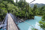 Hanging Bridge Above the Turquoise Water in the Hokitika Gorge, West Coast, South Island Photographic Print by Michael Runkel