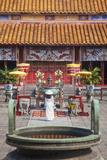 Woman Wearing Ao Dai Dress at Mieu Temple Inside Citadel, Hue, Thua Thien-Hue, Vietnam, Indochina Photographic Print by Ian Trower