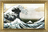 Great Wave off Kanagawa Hokusai Poster with Gilded Faux Frame Border Prints