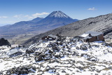 View from Mount Ruapehu of Mount Ngauruhoe with a Ski Cottage in the Foreground Photographic Print by Michael Runkel