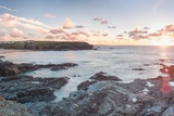 Rocky Coast at Treyarnon Bay at Sunset, Cornwall, England, United Kingdom, Europe Photographic Print by Matthew Williams-Ellis