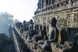 Early Morning Light Shining on Buddhas Sitting in the Temple Complex of Borobodur, Java, Indonesia Photographic Print by Michael Runkel