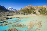 Turquoise Glacier Lake in Front of Mount Cook, South Island, New Zealand, Pacific Photographic Print by Michael Runkel