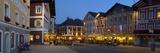 Restaurants in Market Square Illuminated at Dusk, Mondsee, Mondsee Lake Photographic Print by Doug Pearson