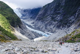 Tourists Hiking Up to the Franz-Joseph Glacier, Westland Tai Poutini National Park, Southern Alps Photographic Print by Michael Runkel