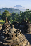 Early Morning Light at the Stupas of the Temple Complex of Borobodur, Java, Indonesia Photographic Print by Michael Runkel