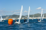Sailboats Participating in Regatta and Buoy, Ibiza, Balearic Islands, Spain, Mediterranean, Europe Photographic Print by Emanuele Ciccomartino