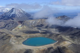 Aerial of a Blue Lake with Mount Ngauruhoe in the Background, Tongariro National Park, North Island Photographic Print by Michael Runkel