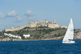 Sailboat Participating in Regatta, View of Ibiza Old Town and Dalt Vila, Ibiza Photographic Print by Emanuele Ciccomartino