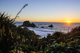 Sunset at Cape Foulwind Near Westport, West Coast, South Island, New Zealand, Pacific Photographic Print by Michael Runkel