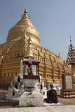 Buddhist Nun Meditating by Gold Stupa, Shwezigon Paya (Pagoda), Nyaung U Photographic Print by Stephen Studd