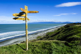 Signpost on Te Waewae Bay, Along the Road from Invercargill to Te Anau, South Island Photographic Print by Michael Runkel