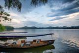Boats at West Lake Shore in Hangzhou, Zhejiang, China, Asia Photographic Print by Andreas Brandl