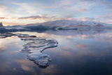 Panoramic View at Sunset During Winter over Jokulsarlon Photographic Print by Lee Frost