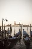 Gondolas Moored on the Lagoon, San Giorgio Maggiore Beyond, Riva Degli Schiavoni Photographic Print by Amanda Hall