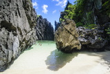Hidden Bay with Crystal Clear Water in the Bacuit Archipelago, Palawan, Philippines Photographic Print by Michael Runkel