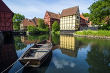 Little Boat in a Pond in the Old Town, Den Gamle By, Open Air Museum in Aarhus Photographic Print by Michael Runkel