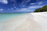 Idyllic Beach Scene with Blue Sky, Aquamarine Sea and Soft Sand, Ile Aux Cerfs Photographic Print by Lee Frost
