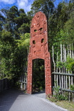 Wooden Carved Entrance at the Te Puia Maori Cultural Center, Rotorura, North Island Photographic Print by Michael Runkel